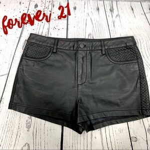 Forever 21 Black Faux Leather Quilted Shorts